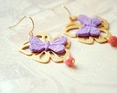 Rhapsody Coral Dreams - Butterflies Earrings  - romantic dangle big earrings with golden flowers and charming butterflies - Europe