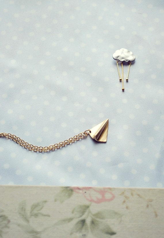Back to school - Paper Plane Necklace - Childhood memories - Flight over the rose garden - a delicate plane necklace ready to take off