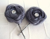 Gray Organza rosettes flower with Crystal Rhinestore Bead Bobby pin set 2
