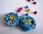 Aquamarine turquoise white cotton rosettes flower withYellow Beads Bobby pin set 2