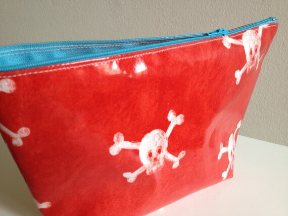 Boys wet bag, travel pouch in red glossy oilcloth