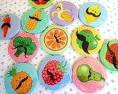 FOOD - Fruit and veggies with Mustaches POCKET MIRRORS x 4