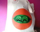 Pea pod with Mustache Tote Bag