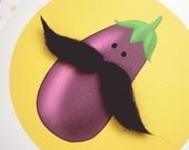 EGGPLANT with MUSTACHE Greetings Card