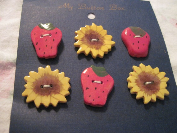 Ceramic Sunflower and Strawberry Buttons