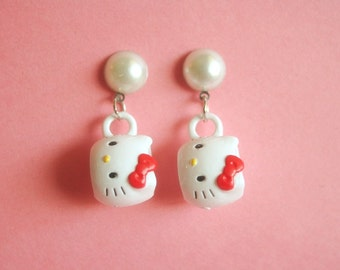 Kitty mug earrings