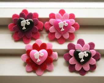 Barbie felt flower hairclips