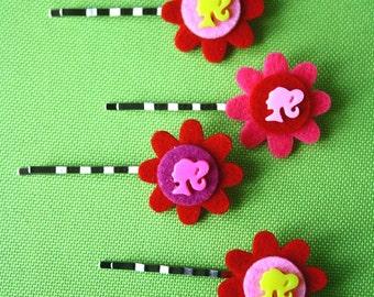 Barbie felt flower on bobby pin (Choose ONE)