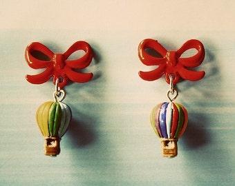 Rainbow hot air balloon earrings