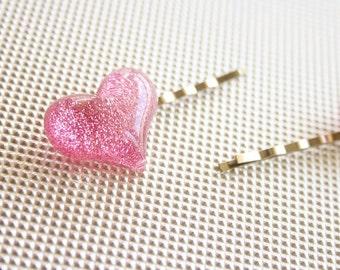 Glitter heart bobby hair pin (PICK 1)