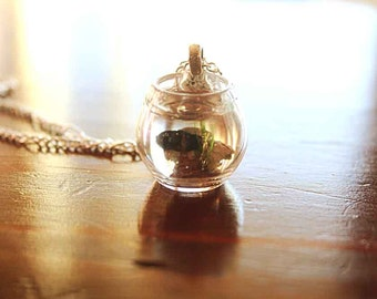 Black Goldfish in a bowl necklace