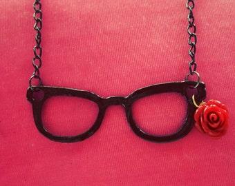 Nerd eyeglass necklace
