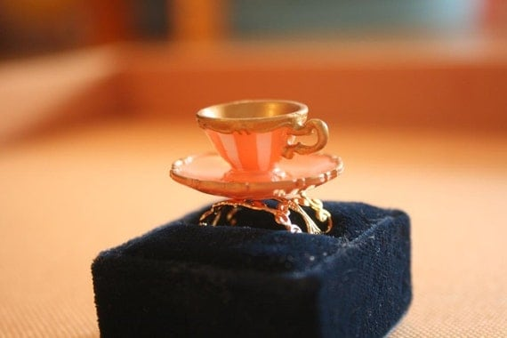 Alice in wonderland teacup ring