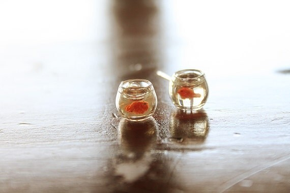 Orange Goldfish in a bowl pet  earrings