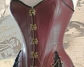 """30"""" waist Brass Steampunk Adventurer's Corset oxblood & Brass"""