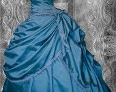 """Stunning Unique one off Blue Victorian Steampunk  Wedding / Ball Gown waist 30"""" bust 39"""""""