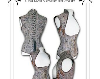 "Steampunk ""Asylum"" Corset Sewing Pattern High Full  Back - size Large 32- 34 -36"" waists"