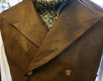 Gothic - Victorian Steampunk gold black silk Cravat pre-tied CRV91-Last one