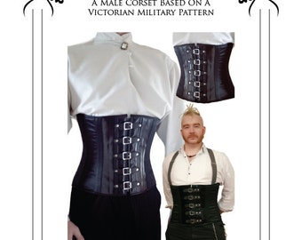 Gentleman's Victorian military corset Sewing Pattern 28 - to 36 waist