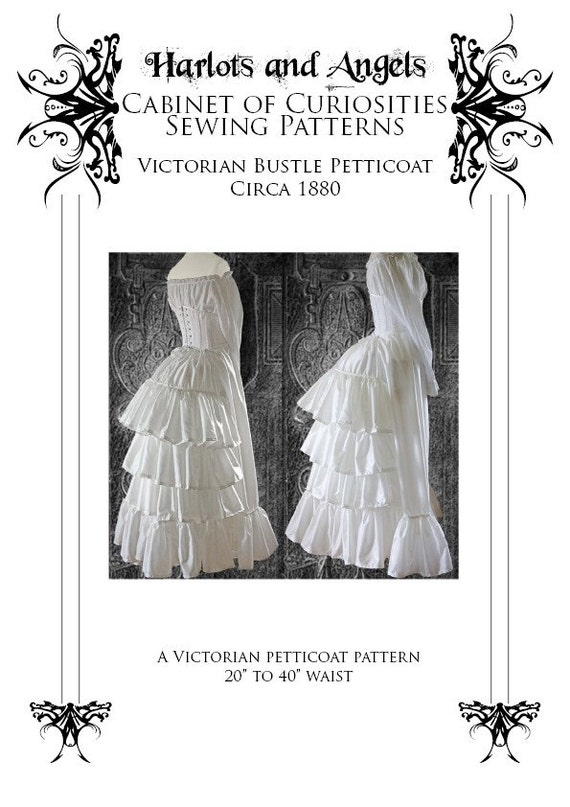 Guide to Victorian Civil War Costumes on a Budget Steampunk Victorian Bustle Skirt Petticoat Sewing Pattern circa 1880 $12.50 AT vintagedancer.com