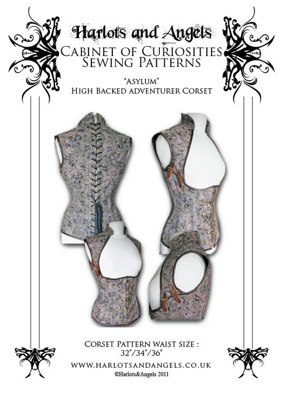 "Steampunk ""Asylum"" Corset Sewing Pattern High Full Back - Extra Large 38-40-42"" corset waists by Harlotsandangels steampunk buy now online"