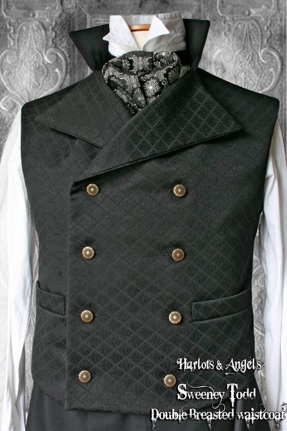 """38 -40"""" Steampunk double breasted Waistcoat / Vest 'Sweeney Todd' style BLKJQSWE22"""