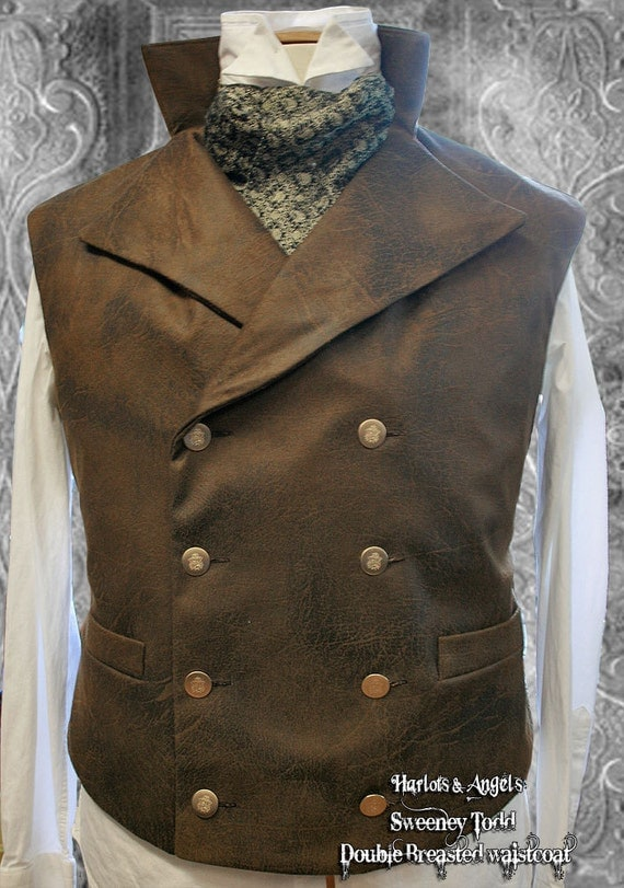 """40 -42  """" chest Distressed brown  double breasted Waistcoat / vest  'sky pirate'"""
