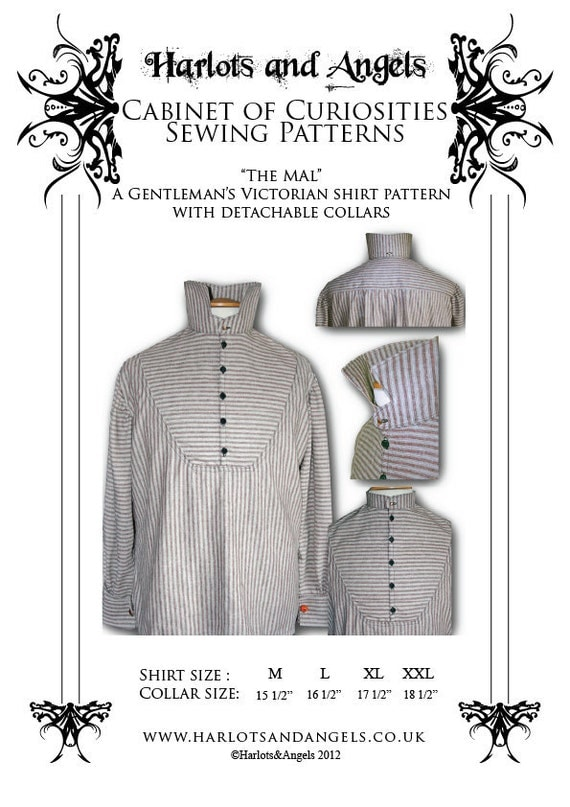 Victorian Men's Shirts- Wingtip, Gambler, Bib, Collarless Steampunk Victorian Mens Shirt  with detachable collar Paper sewing pattern $16.99 AT vintagedancer.com