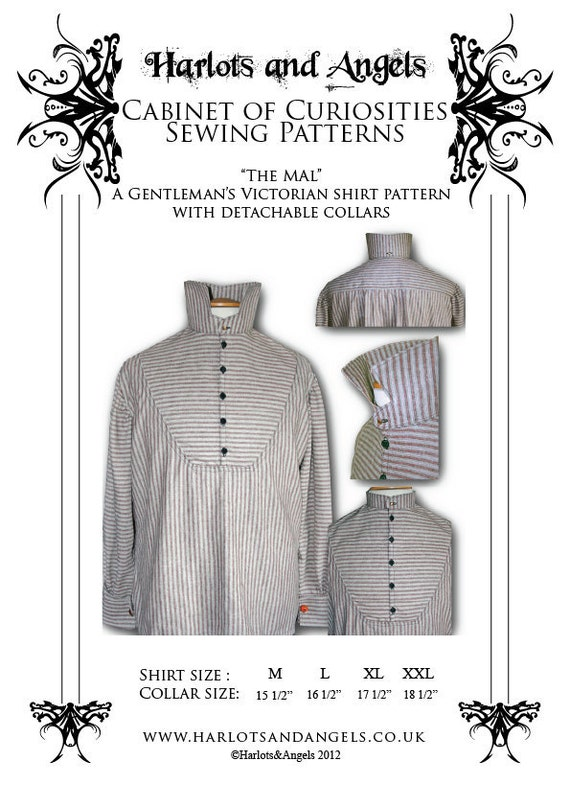 Victorian Sewing Patterns- Dress, Blouse, Hat, Coat, Mens Steampunk Victorian Mens Shirt  with detachable collar Paper sewing pattern $16.99 AT vintagedancer.com
