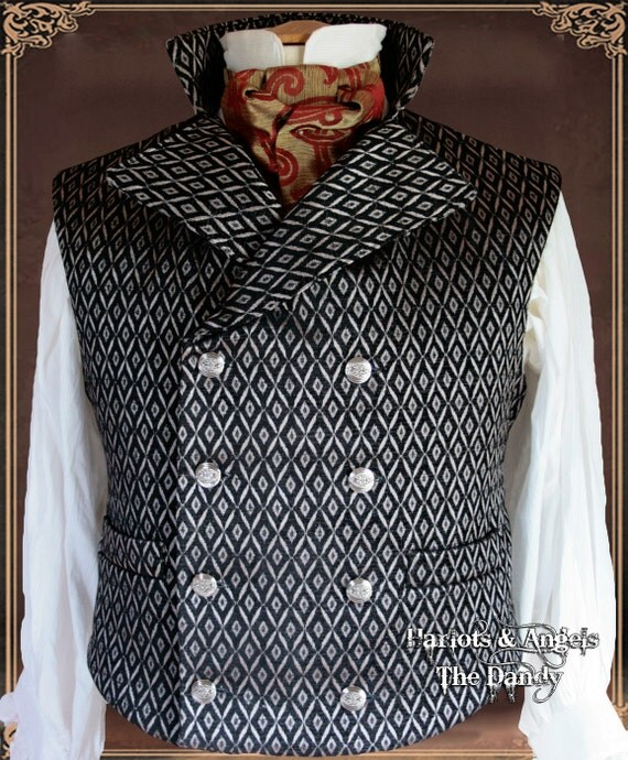 """44 -46  """" chest 'Black Dandy' gothic steampunk  double breasted Waistcoat / vest limited edition"""