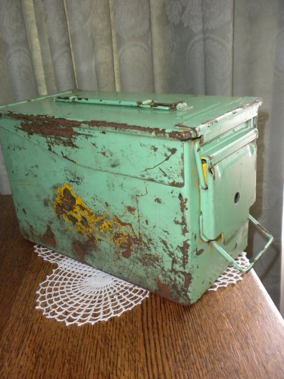 Vintage Chippy Paint Ammo Box  Reserved for Lori