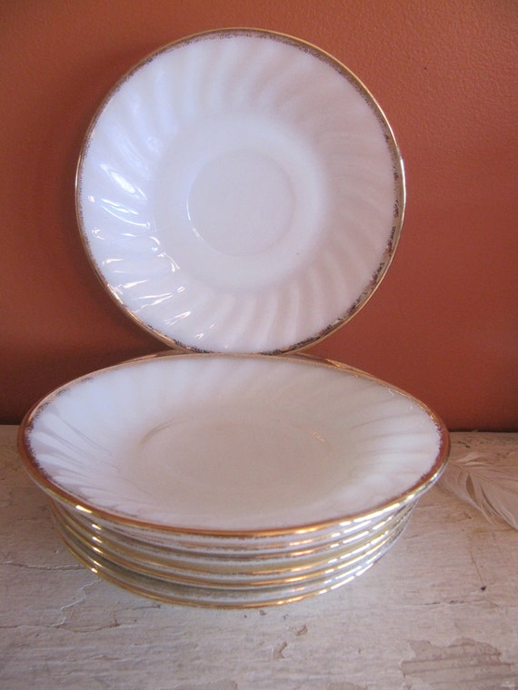 8 Fire King White Gold Rimmed saucers 5 3/4in