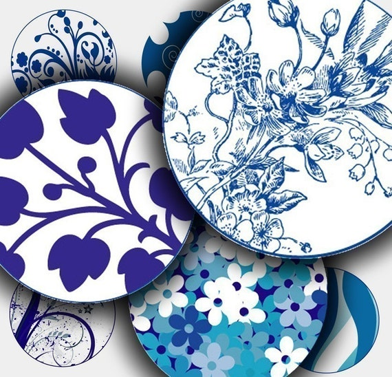 Blue - Floral Abstract - Digital Collage Sheet - 1 inch circles for bottle caps- jpeg - 083