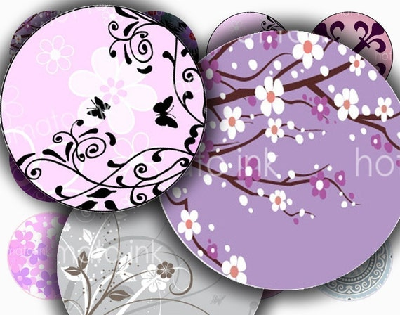 Purple Lavender floral designs digital collage sheet bottle cap art 1 inch circles for bottlecaps printable downloadable JPEG sheet 080