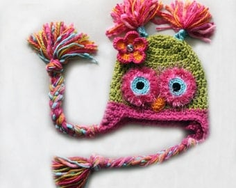 Pink and Lime Green Owl Hat with Flower  PICK A SIZE, Crochet owl hat with Earflaps and braids, pink hat, baby girl, photo prop, owl