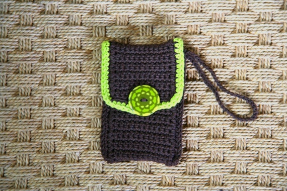 Organic Green and Brown Iphone Cozy, Fits Many Cell Phones and iPods, Crochet with recycled cotton and ready to ship