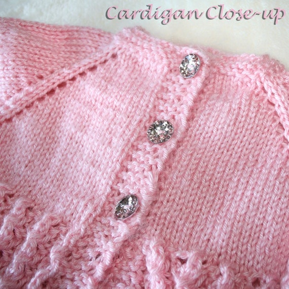 SALE Pretty in Pink Cardigan and Bonnet Set for 3-6 Month Old Baby Girl, Handknit pale pink sweater with hat, sparkly diamond buttons