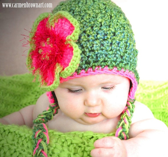 Pink and Green Flower Beanie hat for girls,  PICK A SIZE,  Fun flower hat for fairy costume or to be used as a newborn photo prop