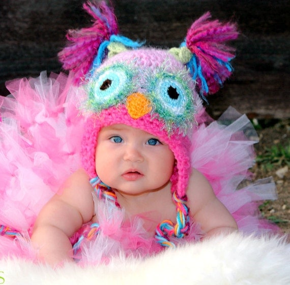 Pink Owl Hat PICK A SIZE, Pink and Pastel Owl Hat with Earflaps and Braids, use for a newborn photo prop