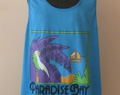 SALE 80s Tank Top Dress / 1980s Resort Top / Paradise Bay OS