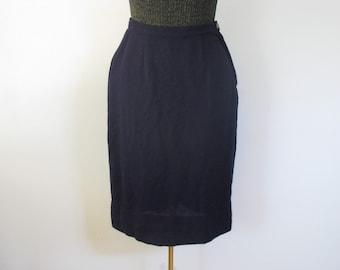 Vintage Wool Skirt / 60s Navy Blue Skirt / 1960s Pencil Skirt Schmitt-Orlow S M / SB12