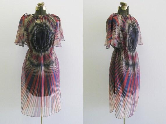 70s Sheer Dress / 1970s Dress / Flutter Fireworks Graphic XS S