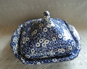 Crownford Staffordshire Calico blue square vegetable dish with cover