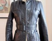 XXS Vintage Black Leather Belted Jacket