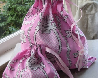 Pretty Simple Drawstring Project Bag Set - Pink & White Floral