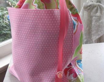 Drawstring Project Bag w/Pocket - Pink Polka Dots & Flowers