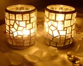 """Made to Order: The Offshore """"star"""" mosaic candleholder - clear - set of TWO"""