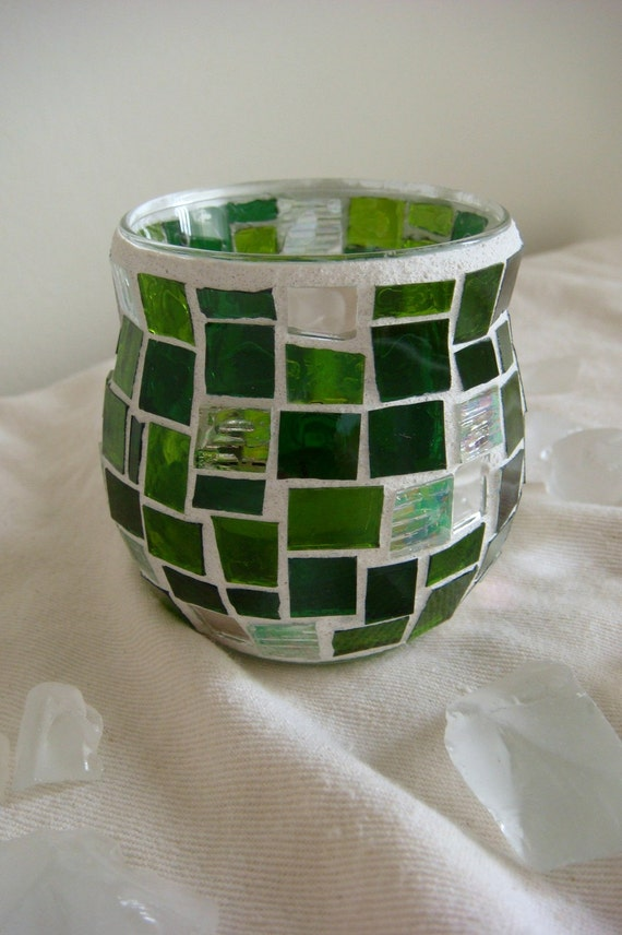 RESERVED for Kimberly - The Avenida mosaic candleholder - green (white)