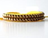 Beaded Friendship Bracelet, Yellow and Bronze
