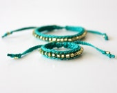 Mommy and Me Bracelet Set, Sea Green and Gold
